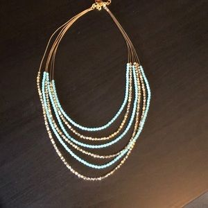 Jewelry - Gold and sky blue beaded necklace